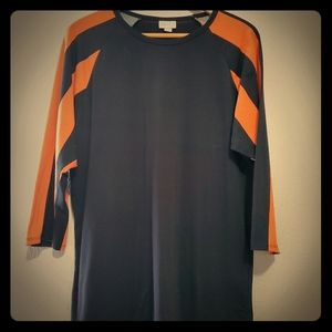 Xl black and orange lularoe 3/4 sleeve top